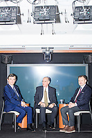 Philippe Douste-Blazy (left) sits on stage during a taped interview with professor Rifat Atun (center) and Robert Filipp (right) during a visit to Harvard University's T. H. Chan School of Public Health in Boston, Massachusetts, USA. Filipp is the president of the Innovative Finance Foundation and helped organize Douste-Blazy's visit to Harvard. Atun is the director of the Global Health Systems Cluster and a Professor of Global Health Systems at the School of Public Health. The visit is part of his campaign to become Director General of the World Health Organization. During the visit, he met with professors, students, and visiting scholars, including former Ministers of Health from England and Brazil. Doutse-Blazy is Under-Secretary-General and Special Adviser on Innovative Financing for Development in the United Nations and chairman of UNITAID. He served as Minister of Health, Minister of Culture, and Foreign Minister in the French government and was also mayor of Lourdes and Toulouse.