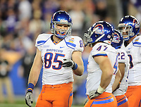 Jan. 4, 2010; Glendale, AZ, USA; Boise State Broncos tight end (85) Tommy Gallarda against the TCU Horned Frogs in the 2010 Fiesta Bowl at University of Phoenix Stadium. Boise State defeated TCU 17-10. Mandatory Credit: Mark J. Rebilas-