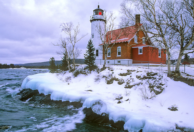 Eagle Harbor Lighthouse in winter, Keweenaw County, Michigan