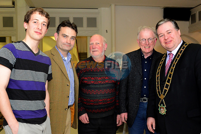 Poet Roger Hudson (centre) pictured at the launch of his latest compilation ?Plaything of the Great God Kafka? published by Lapwing Publications at Highlanes Gallery, Laurence Street on Friday night 12th April with (from left) musician Breifne Holohan, fellow poet Joe Woods of Poetry Ireland, poet and plumber to the stars Terry McHugh and Mayor of Drogheda Cllr. Paul Bell. Photo: Andy Spearman. www.newsfile.ie