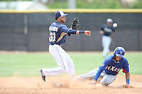 Jose Savinon (61) of the AZL Padres throws to first base after forcing out Crisford Adames (5) of the AZL Rangers at second base during a game at the San Diego Padres Spring Training Complex on July 4, 2015 in Peoria, Arizona. Padres defeated the Rangers, 9-2. (Larry Goren/Four Seam Images)