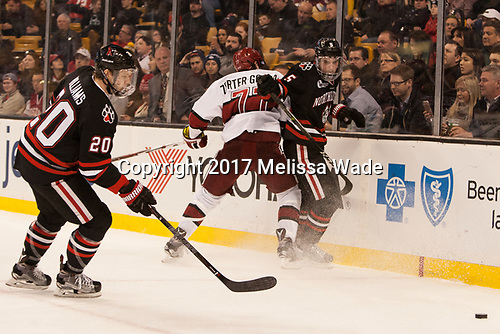 Eric Williams (NU - 20), Lewis Zerter-Gossage (Harvard - 77), Ryan Shea (NU - 5) - The Harvard University Crimson defeated the Northeastern University Huskies 4-3 in the opening game of the 2017 Beanpot on Monday, February 6, 2017, at TD Garden in Boston, Massachusetts.