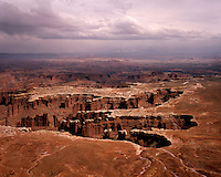 Storm clouds over Canyonlands as vired from Grand View Point; Canyonlands National Park, UT