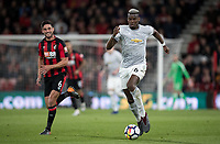 Paul Pogba of Man Utd moves from Andrew Surman of AFC Bournemouth during the Premier League match between Bournemouth and Manchester United at the Goldsands Stadium, Bournemouth, England on 18 April 2018. Photo by Andy Rowland.