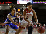 VERMILLION, SD: JANUARY 13:  Diamond Williams #30 of Ft. Wayne and Jasmine Trimbole #5 of South Dakota chase a loose ball during their Summit League game Saturday January 13 at the Sanford Coyote Sports Center in Vermillion, S.D.   (Photo by Dick Carlson/Inertia)