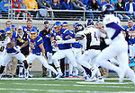 BROOKINGS, SD - SEPTEMBER 24:  Dallas Goedert #86 from South Dakota State University runs upfield past Quentin Moon #39 from Western Illinois in the first half of their game Saturday evening at Dana J. Dykhouse Stadium in Brookings. (Photo by Dave Eggen/Inertia)