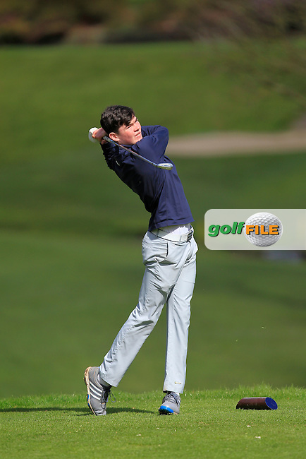 Sean Burke (Galway) on the 13th tee during Round 2 of the Munster Youths' Amateur Open Championship at Monkstown Golf Club on Thursday 31st March 2016.<br /> Picture:  Golffile / Thos Caffrey