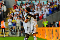 Thursday  01  August  2013<br /> <br /> Pictured:Wilfried Bony Celebrates with Michu<br /> Re:UEFA Europa League Third Qualifying Round -1st Leg Swansea City vs Malmo FF
