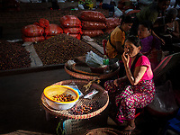 Life at the whole sale vegetable Market in Yangon, Myanmar, Burma