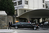 United States President George W. Bush, in the Presidential Limousine, leaves the presidential garage  entrance of the Washington Hilton Hotel after the 56th National Prayer Breakfast in Washington, DC. on February 7, 2008.   <br /> Credit: Dennis Brack / Pool via CNP