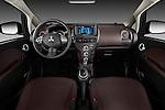 Straight dashboard view of a 2012 Mitsubishi MiEV SE .
