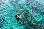 Scuba diving off the coast of Kiritimati in Kiribati