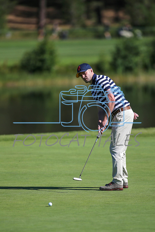 Justin Timberlake putts during an American Century Championship practice round at Edgewood Tahoe Golf Course in Stateline, Nev., on Wednesday, July 15, 2015. <br /> Photo by Cathleen Allison