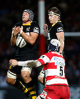Photo: Richard Lane/Richard Lane Photography. Gloucester Rugby v London Wasps. Guinness Premiership. 24/10/2009. Wasps' John Hart wins a high ball with Richard Birkett in support.