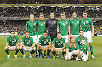 6th September 2013;The Republic of Ireland team, back row, from left to right, James McClean, Glenn Whelan, David Forde, Richard Dunne, Marc Wilson and John O'Shea. Front row, from left to right, Seamus Coleman, James McCarthy, Jonathan Walters, Robbie Keane and Shane Long. 2014 FIFA World Cup Qualifier, Group C,  Republic of Ireland v Sweden, Aviva Stadium, Dublin. Picture credit: Tommy Grealy/actionshots.ie.