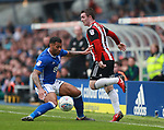 John Fleck of Sheffield Utd  and \b1during the championship match at St Andrews Stadium, Birmingham. Picture date 21st April 2018. Picture credit should read: Simon Bellis/Sportimage