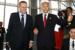 (L-R)<br /> John Coates IOC Vice President,<br />  Yoichi Masuzoe, <br /> APRIL 3, 2014 : IOC committee members inspected the athletes village, Koji Murofushi director, Yoichi Masuzoe Tokyo governor  and U23 Rowing national team's member was welcomed at Harumi Port Terminal in Tokyo, Japan. (Photo by AFLO SPORT)