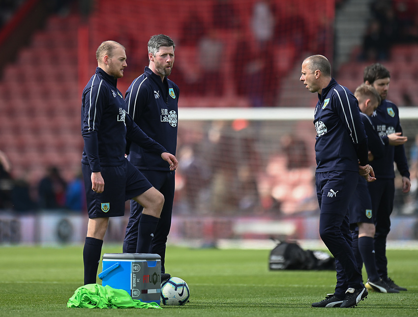 Burnley training team during the pre-match warm-up<br /> <br /> Photographer David Horton/CameraSport<br /> <br /> The Premier League - Bournemouth v Burnley - Saturday 6th April 2019 - Vitality Stadium - Bournemouth<br /> <br /> World Copyright © 2019 CameraSport. All rights reserved. 43 Linden Ave. Countesthorpe. Leicester. England. LE8 5PG - Tel: +44 (0) 116 277 4147 - admin@camerasport.com - www.camerasport.com