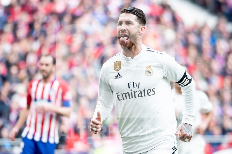 Sergio Ramos of Real Madrid celebrating a goal during La Liga match between Atletico de Madrid and Real Madrid at Wanda Metropolitano in Madrid Spain. February 09, 2018. (ALTERPHOTOS/Borja B.Hojas)