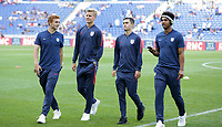 Lyon, France - Saturday June 09, 2018: Josh Sargent, Keaton Parks, Luca De La Torre, Erik Palmer-Brown during an international friendly match between the men's national teams of the United States (USA) and France (FRA) at Groupama Stadium.