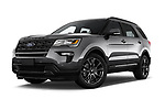 Stock pictures of low aggressive front three quarter view of a 2019 Ford Explorer XLT 5 Door SUV