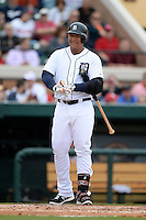 Detroit Tigers first baseman Miguel Cabrera (24) during a spring training game against the Atlanta Braves on February 27, 2014 at Joker Marchant Stadium in Lakeland, Florida.  Detroit defeated Atlanta 5-2.  (Mike Janes/Four Seam Images)