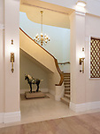 Stairs leading to the private apartment.  The horse was a gift from Mrs Betty Tung, wife of Hong Kong's first Chief Executive.