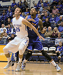 January 2, 2016 - Colorado Springs, Colorado, U.S. -  Air Force forward, Kyle Broekhuis #25, and San Jose State forward, Frank Rogers #14, battle for position during an NCAA basketball game between the San Jose State Spartans and the Air Force Academy Falcons at Clune Arena, U.S. Air Force Academy, Colorado Springs, Colorado.  Air Force defeats San Jose State 64-57.