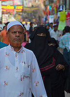 Muslims in the Streets  in Varanasi India's holiest city.