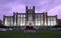 The exterior of Loyola University at dusk. New Orleans, Louisiana.