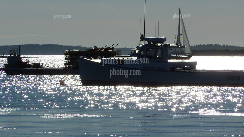 Lobster Boat Moored & Sail Boat with Sun Glare Across Water. Casco Bay off South Harpswell Maine, as seen from the bow of a Boston Whaler.