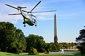 marine One, with United States President Donald J. Trump aboard, departs the South Lawn of the White House in Washington, DC to deliver remarks at a Keep America Great Rally in Minneapolis, Minnesota on Thursday, October 10, 2019.<br /> Credit: Ron Sachs / CNP