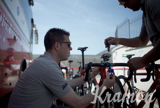 mini-action camera's are mounted on the Lotto-Soudal Ridley bikes for in-race action footage<br /> <br /> 2015 Giro<br /> stage 2: Albenga - Genova (177km)