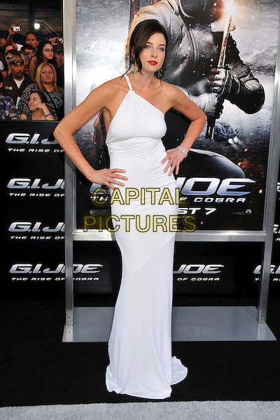 "RACHEL NICHOLS .""G.I. Joe: The Rise Of Cobra"" Los Angeles Special Screening held at Grauman's Chinese Theatre, Hollywood, CA, USA, 6th August 2009..full length white dress one shoulder hands on hips  long maxi .CAP/ADM/BP.©Byron Purvis/Admedia/Capital Pictures"