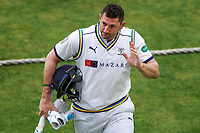 Picture by Alex Whitehead/SWpix.com - 22/04/2018 - Cricket - Specsavers County Championship Div One - Yorkshire v Nottinghamshire, Day 3 - Emerald Headingley Stadium, Leeds, England - Yorkshire's Tim Bresnan ends the innings with 68 not out.