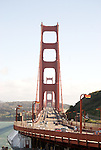 The Golden Gate Bridge as seen from the Vista Point Overlook area in San Francisco, California..