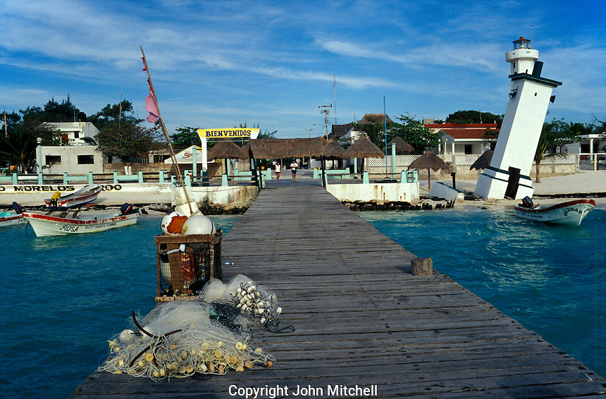 The town pier in Puerto Morelos, Quintana Roo, Mexico