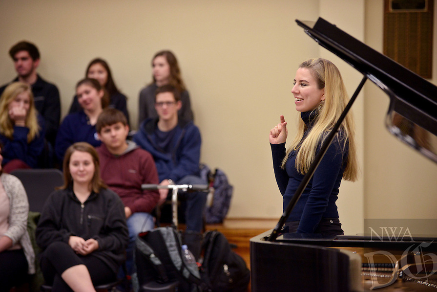 NWA Democrat-Gazette/BEN GOFF @NWABENGOFF<br /> Natasha Paremski, a pianist from New York, speaks to Bentonville High School music students on Friday Jan. 27, 2017 at the school. Paremski played several pieces before taking questions from students at the event, which was part of Symphony of Northwest Arkansas's ongoing community educational outreach. Paremski is in Northwest Arkansas to perform with the symphony at their Masterworks I: 'Momentum' concert at 7:30pm on Saturday at the Walton Arts Center in Fayetteville. Paremski was born in Moscow, Russia and began studying piano at age 4 before moving the United States and becoming a citizen at age 8.