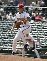 May 26, 2004:  Pitcher Matt Guerrier of the Rochester Red Wings, Triple-A International League affiliate of the Minnesota Twins, during a game at Frontier Field in Rochester, NY.  Photo by:  Mike Janes/Four Seam Images