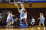 GRAND RAPIDS, MI - MARCH 18: Michela North (24) of Tufts University blocks Meredith Doswell (13) of Amherst College during the Division III Women's Basketball Championship held at Van Noord Arena on March 18, 2017 in Grand Rapids, Michigan. Amherst defeated 52-29 for the national title. (Photo by Brady Kenniston/NCAA Photos via Getty Images)