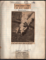 BNPS.co.uk (01202 558833)<br /> Pic: IAA/BNPS<br /> <br /> Press report from February 1944 of a Tallboy attack on Limoges  - '1x 12,000lb, Total devastation'.<br /> <br /> A fascinating and historic logbook and photographs from a Dambuster's hero who also went on many other famous raids during WW2 has come light. <br /> <br /> The remarkable collection belonged to Flight Sergeant Leonard Sumpter who was a bomb aimer on the iconic Dam's mission and put together a unique scrapbook of his thrilling wartime career in Bomber Command's most famous squadron.<br /> <br /> As well as the bouncing bomb sortie, the ace bomb aimer also dropped Barnes Wallis's later invention of massive Tallboy and Grand Slam 'bunker busting' bombs, the largest non nuclear warheads of the war.<br /> <br /> Only the elite 617 squadron were entrusted with delivering these hugely valuable weapons onto their vital targets, that included U-boat pens, V2 rocket sites and even Hitler's Bavarian hideaway the Eagles Nest.<br /> <br /> Also included are pictures Mr Sumpter took in 1947 during a summer excusion to visit some of the sites he had attacked during the conflict.<br /> <br /> Flt Sgt Sumpter's daughter has decided to put the photo album up for auction together with his logbook and his personal scrapbook.