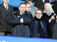 Pictured L-R: Swansea chairman Huw Jenkins and board director Martin Morgan. Sunday 16 February 2014<br /> Re: FA Cup, Everton v Swansea City FC at Goodison Park, Liverpool, UK.