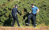 Paul Dunne of Ireland gets a ruling on his lie during Round 2 of the 2015 Alfred Dunhill Links Championship at the Old Course, St Andrews, in Fife, Scotland on 2/10/15.<br /> Picture: Richard Martin-Roberts | Golffile