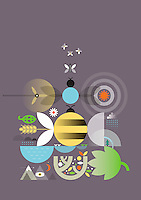 Abstract collage of nature, insects and rural landscape  ExclusiveImage ExclusiveArtist