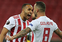 12th March 2020, Pireas, Greece; Europa League football, Olympiakos versus Wolves; Youssef El Arabi celebrates scoring for 1:0 in the 54th minute with Guilherme