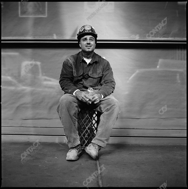 Joe Faul, a construction worker from Union 79, photographed on 40th Street, Manhattan, New York. New York City, New York, November 17, 2008