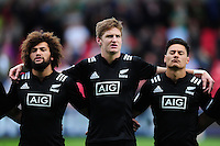 New Zealand U20 players line up for their national anthem. World Rugby U20 Championship 5th Place Play-Off between Australia U20 and New Zealand U20 on June 25, 2016 at the AJ Bell Stadium in Manchester, England. Photo by: Patrick Khachfe / Onside Images