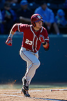 Kolbey Carpenter #23 of the Oklahoma Sooners bats against the UCLA Bruins at Jackie Robinson Stadium on March 9, 2013 in Los Angeles, California. (Larry Goren/Four Seam Images)