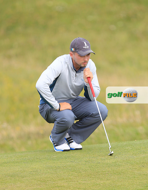 Keith Egan (Carton House) on the 15th green during Matchplay Round 4 of the South of Ireland Amateur Open Championship at LaHinch Golf Club on Saturday 25th July 2015.<br /> Picture:  Golffile | TJ Caffrey