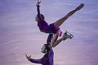 Vera Bazarova and Yuri Larionov of Russia bronze medalist of the Pairs Figure Skating competition perform during the gala exhibition of the ISU European Figure Skating Championships in Budapest, Hungary on January 19, 2014. ATTILA VOLGYI